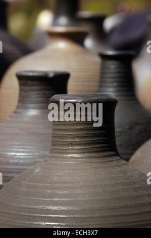 Hand made clay jugs - Stock Photo