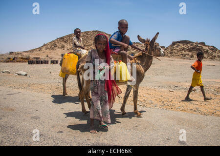 Children with a donkey on the way to a waterhole, in the lowlands, Eritrea - Stock Photo