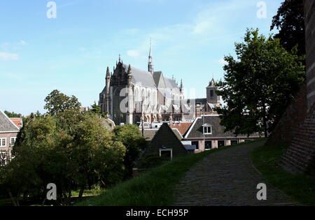 Hooglandse Kerk, 15th century Gothic church in the old city of Leiden, The Netherlands, seen from the park on top - Stock Photo