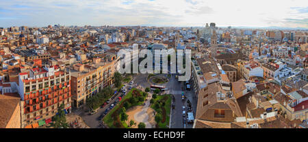 High viewpoint panorama of Valencia Spain and the Plaza de la Reina from the Miguelete Bell Tower - Stock Photo