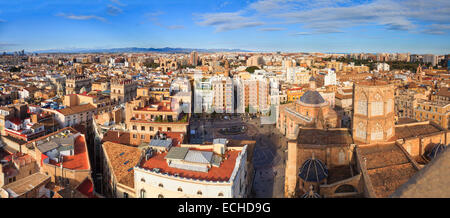 High viewpoint panorama of Valencia Spain and the Plaza de la Seu and the Cathedral from the Miguelete Bell Tower - Stock Photo