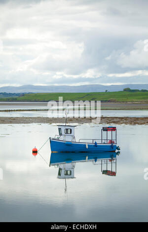 Reflection of lobster fishing boat moored in Killala Harbour. County Mayo, Ireland. - Stock Photo