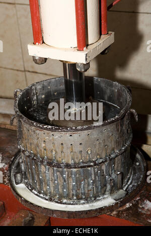 Mauritius, Mahebourg, Biscuiterie Rault Manioc Biscuit factory, chopped tapioca root being pressed - Stock Photo