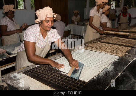 Mauritius, Mahebourg, Biscuiterie Rault Manioc Biscuit factory, woman baking processed tapioca mix - Stock Photo