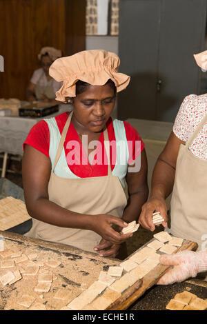 Mauritius, Mahebourg, Biscuiterie Rault Manioc Biscuit factory, women baking processed tapioca mix - Stock Photo