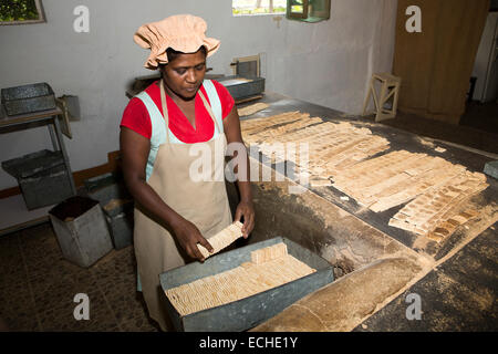 Mauritius, Mahebourg, Biscuiterie Rault Manioc Biscuit factory, packing biscuits - Stock Photo