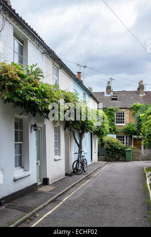 Typical Victorian terraced cottages - pretty terrace of houses in English suburb of Twickenham, Greater London, - Stock Photo