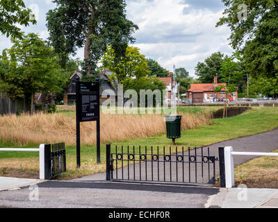 Entrance to recreation ground next to the Thames river in Teddington, Greater London, England, UK - Stock Photo
