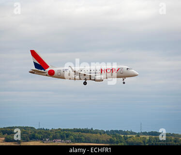 Hop (Air France) Embraer 170LR (ERJ-170 landing at Aberdeen Dyce Airport, Scotland.  SCO 9361. - Stock Photo