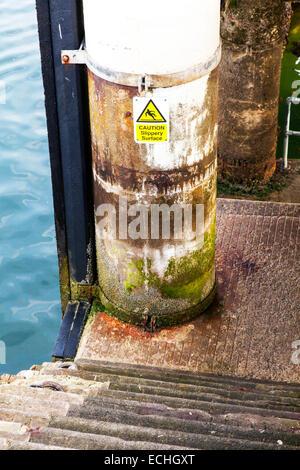 Caution slippery surface sign wet danger steps green slime slip hazard water below - Stock Photo