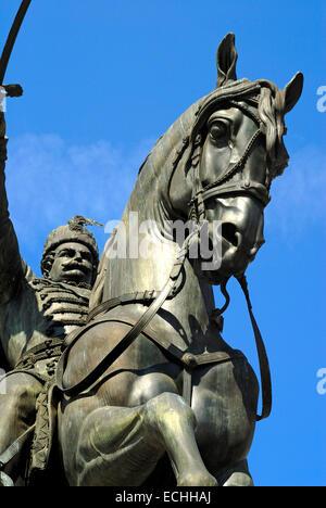 Zagreb, Croatia. Equestrian statue of Count Josip Jelacic (1801-59) in Trg Josip Jelacica - Stock Photo