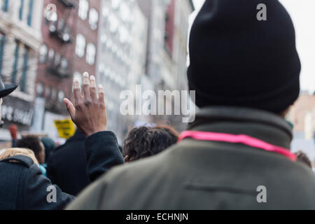 View of participants in Millions March NYC protesting racism and police brutality. New York City, NY. USA.  December - Stock Photo