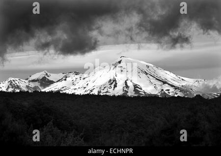 Mount Ruapehu is one of the world's most active volcanoes and the largest active volcano in New Zealand. - Stock Photo
