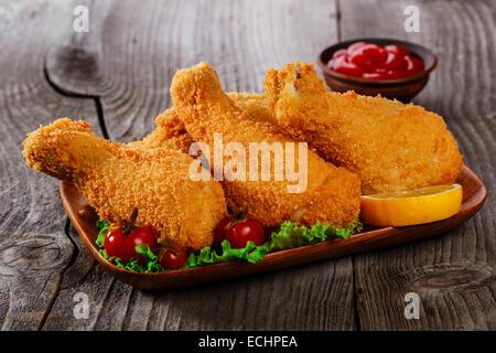 fried chicken legs breaded - Stock Photo