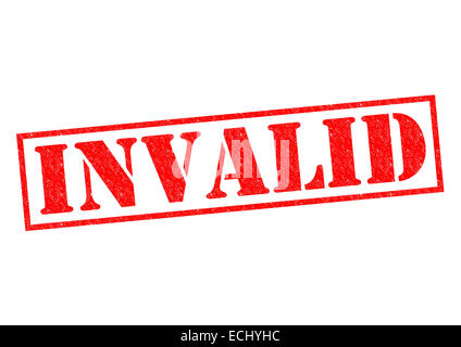 INVALID red Rubber Stamp over a white background. - Stock Photo