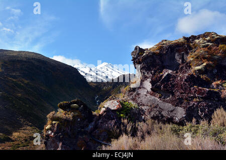 NATIONAL PARK, NZ - DEC 8 2014:Rock formation on Mount Ruapehu.Ruapehu is one of the world's most active volcanoes - Stock Photo