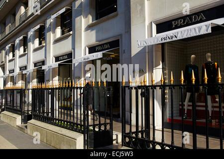 France, Paris, Luxury shops on Montaigne Avenue, Prada - Stock Photo