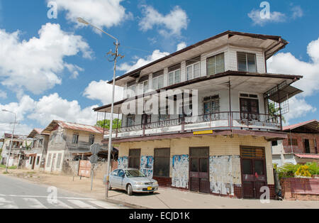 Typical house of freed slaves at Frimangro, Paramaribo, Suriname - Stock Photo