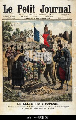 Le Petit Journal, illustrated supplement, Sunday, Sept. 19, 1915, cover, The cult of remembrance - Stock Photo