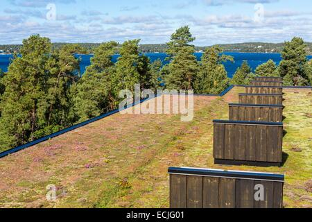 Sweden, Stockholm archipelago, Varmdo, Baggensfjarden bay, contemporary art founded by Bjorn Jakobson Artipelag - Stock Photo