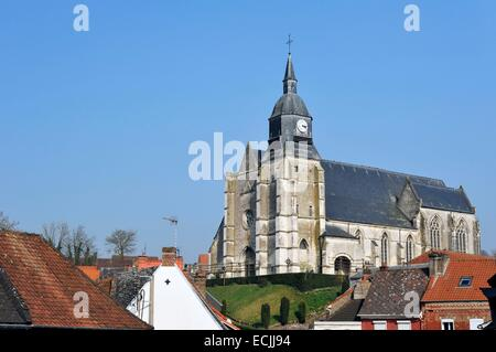 France, Pas de Calais, Auxi le Château, flamboyant Gothic style Church of Saint Martin dating from the 16th century - Stock Photo