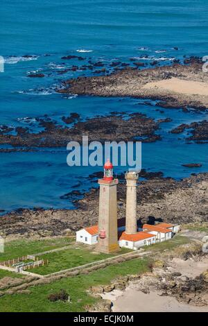 France, Vendee, Ile du Pilier, the lighthouse (aerial view) - Stock Photo