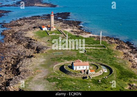 France, Vendee, Ile du Pilier, the semaphore and the lighthouse (aerial view) - Stock Photo