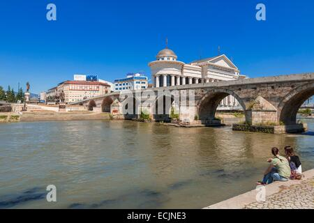 Republic of Macedonia, Skopje, the Stone Bridge over the Vardar river, the Archeological Museum of Macedonia in - Stock Photo