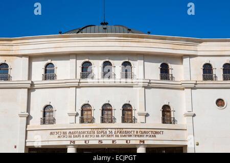 Republic of Macedonia, Skopje, district Carsija, Karpos square, Museum of the Macedonian Struggle on the banks of - Stock Photo