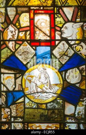 France, Aude, stained glass window of the monk dormitory of Sainte Marie de Fontfroide cistercian abbey by Richard - Stock Photo