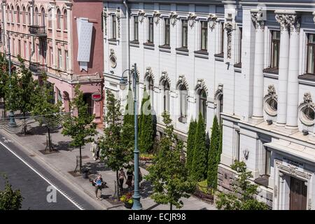 Lithuania (Baltic States), Vilnius, historical center, listed as World Heritage by UNESCO, Gedimino's avenue - Stock Photo