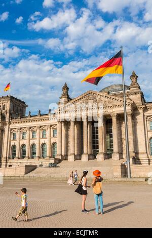 Germany, Berlin, Reichstag, where the German Bundestag (German Federal Parliament) headquarters building designed - Stock Photo
