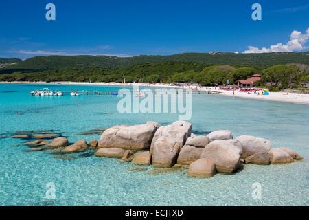 France, Corse du Sud, Porto Vecchio, Santa Giulia beach - Stock Photo