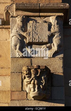 France, Morbihan, Malestroit, Saint Gilles church, Sculpture of debauchery - Stock Photo