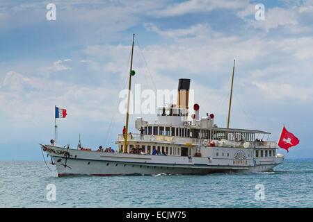 Switzerland, Canton of Vaud, the steamer Montreux on lake Leman - Stock Photo