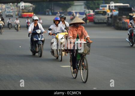 Vietnam, Hanoi, traffic in the old city - Stock Photo