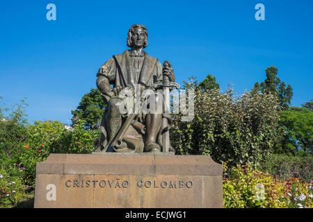 Portugal, Madeira island, Funchal, Santa Catarina garden, Christopher Columbus statue, who spent time in Madeira - Stock Photo