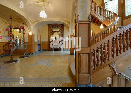 France, Marne, Reims, the Villa Demoiselle of Art Nouveau style, the monumental fireplace Majorelle - Stock Photo