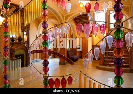 France, Marne, Reims, the Villa Demoiselle of Art Nouveau style, sound sculpture (2011) by Jean Michel Othoniel - Stock Photo