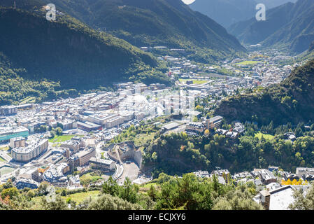 city of Andorra La Vella view from the mountain - Stock Photo