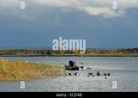 France, Meuse, Lorraine Regional Park, Cotes de Meuse, Heudicourt sous les Cotes, fishermen on Lake Madine, flight - Stock Photo