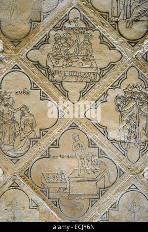 France, Marne, Reims, Saint Remi Basilica listed as World Heritage by UNESCO, old paving of Saint Nicaise abbey - Stock Photo