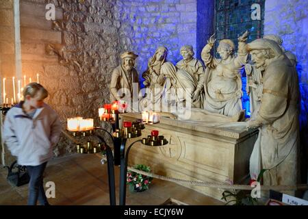 France, Marne, Reims, Saint Remi Basilica listed as World Heritage by UNESCO, the Entombment of Christ (1531) - Stock Photo