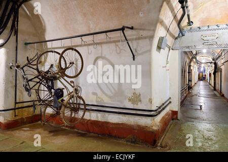 France, Moselle, Veckring, Maginot Line, Hackenberg Fortress, a tunnel - Stock Photo