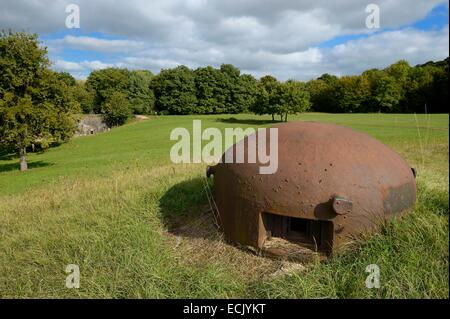 France, Moselle, Veckring, Maginot Line, Hackenberg Fortress, armored cloche - Stock Photo
