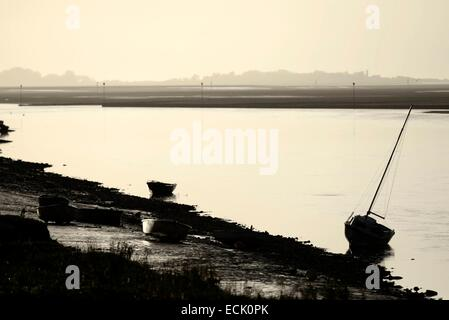 France, Somme, Saint Valery sur Somme, Baie de Somme at low tide and boats stranded - Stock Photo