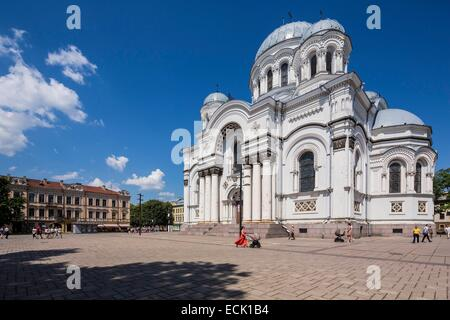 Lithuania (Baltic States), Kaunas County, Kaunas, church of Saint Michael the Archangel or Garrison church, Independence - Stock Photo
