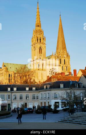 France, Eure et Loir, Chartres, Notre Dame cathedral, listed as World Heritage by UNESCO, gothic cathedral - Stock Photo