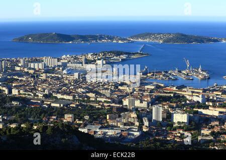 France, Var, Toulon, harbor from Mount Faron, the peninsula of Saint mandrier background - Stock Photo
