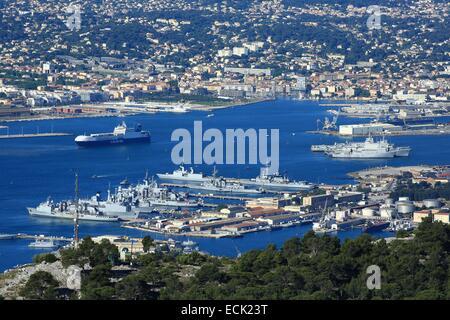 France, Var, Toulon, harbor, naval base from Mont Faron, La Seyne sur Merr background - Stock Photo